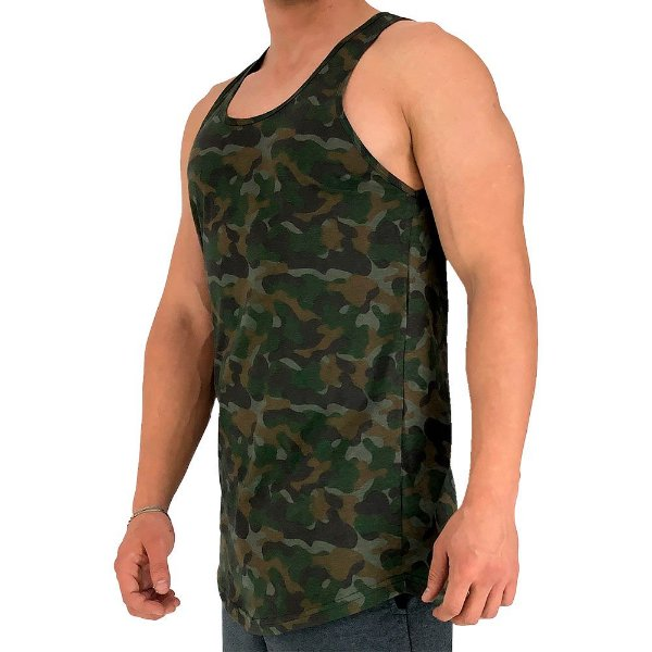 Regata Longline Masculina MXD Conceito FullPrint Camuflado Militar Escurecido