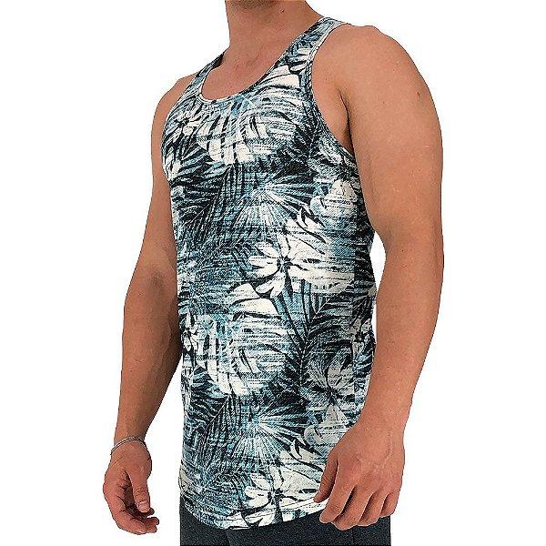 Regata Longline Masculina MXD Conceito FullPrint Floral Azulado