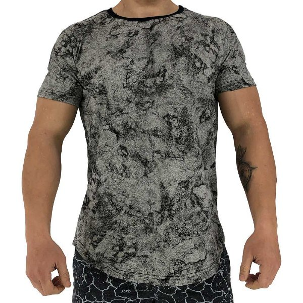 Camiseta Longline Fullprint Masculina MXD Conceito Pedra Ofuscada