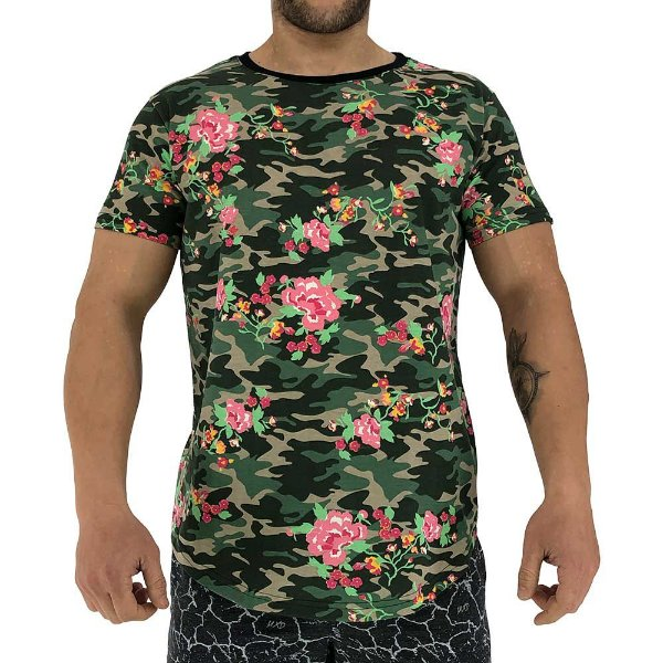 Camiseta Longline Fullprint Masculina MXD Conceito Camuflado Florido
