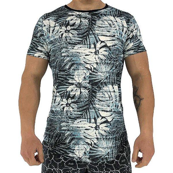 Camiseta Longline Fullprint Masculina MXD Conceito Folhas Azuis