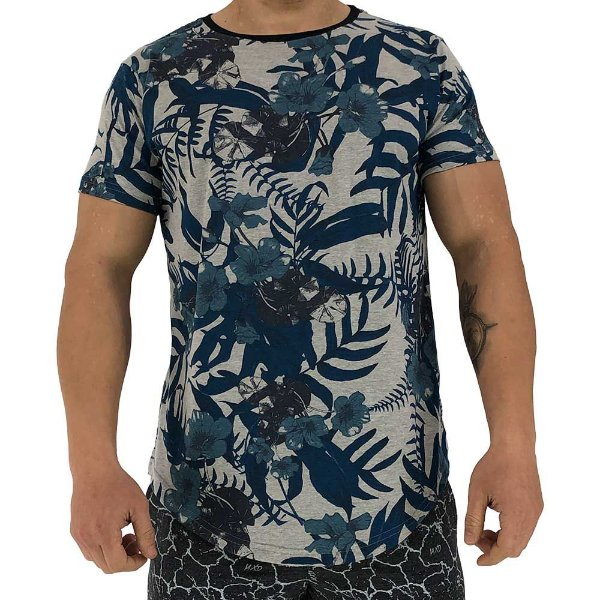Camiseta Longline Fullprint Masculina MXD Conceito Blue Plants