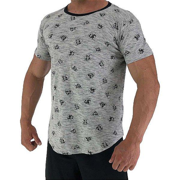 Camiseta Longline Fullprint Masculina MXD Conceito Caveiras Rajadas