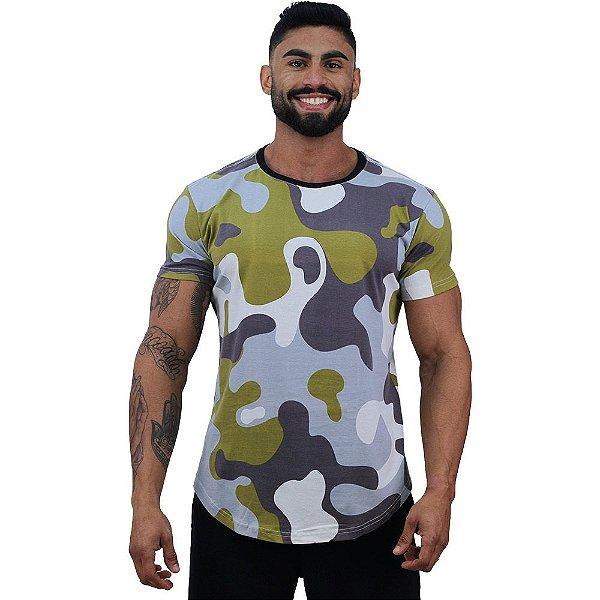 Camiseta Longline Fullprint Masculina MXD Conceito Camuflado Verde Musgo