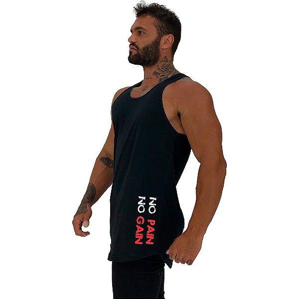 Regata Longline Masculina MXD Conceito Estampa Lateral No Pain No Gain Vertical