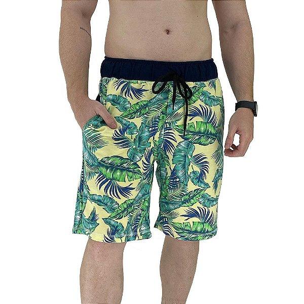 Bermuda Masculina Moletinho MXD Conceito Folhas Tropicais
