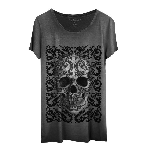 Camiseta Masculina Gola Cavada Korsair Dragon Skull