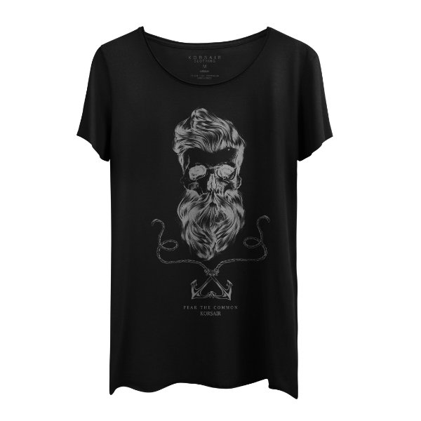Camiseta Masculina Gola Cavada Korsair Captain Black