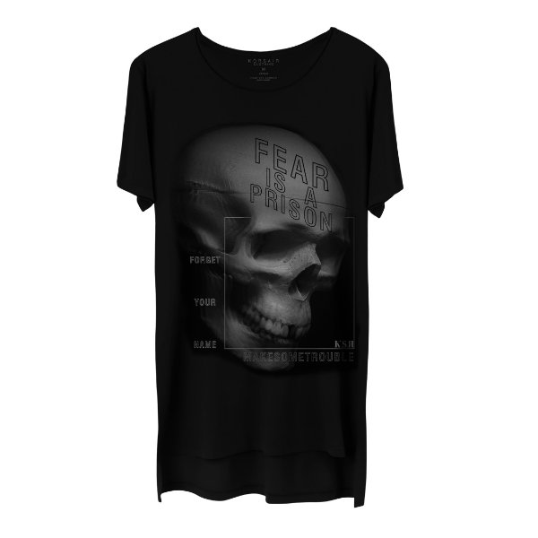 Camiseta Masculina Gola Cavada Korsair Fear Is A Prison