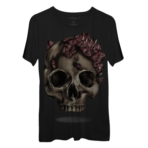 Camiseta Masculina Gola Redonda Korsair Caveira Cristal Vermelho