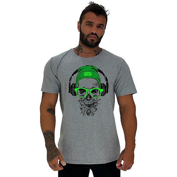 Camiseta Tradicional Masculina Manga Curta MXD Conceito Caveira com Fone de Ouvido