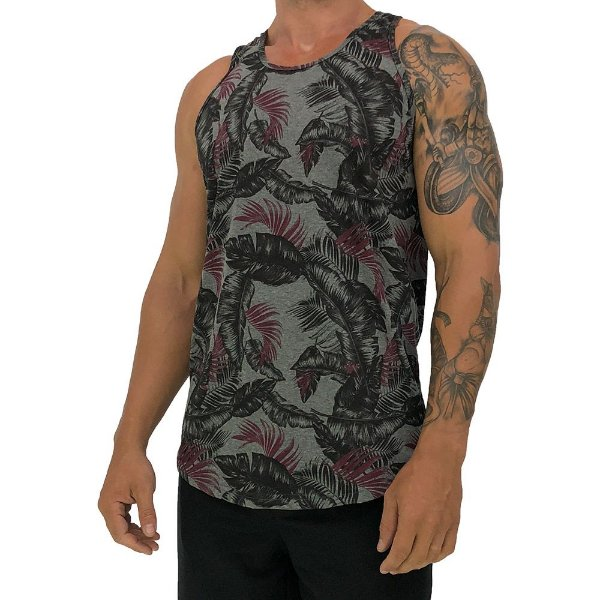Regata Longline Masculina MXD Conceito FullPrint Dark Floral