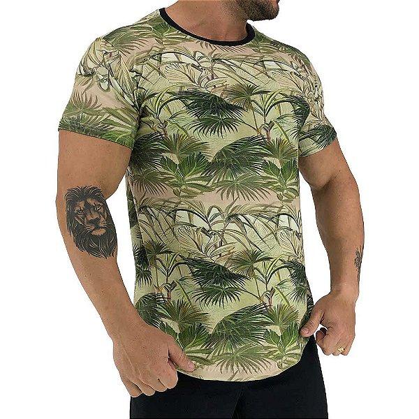 Camiseta Longline Fullprint Masculina MXD Conceito Folhas Palmeiras