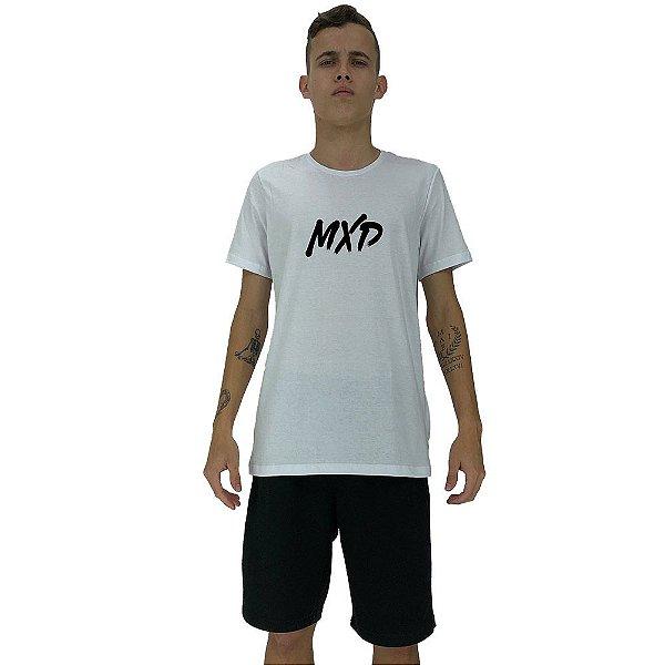 Camiseta Diferenciada Masculina KM MXD Conceito Branco Básico Pincelado