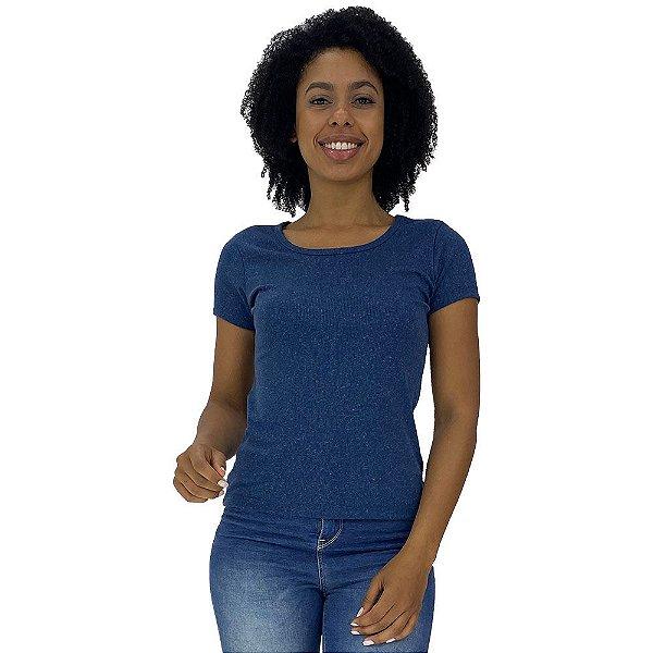 Camiseta Babylook Canelada KM MXD Conceito Azul Mescla
