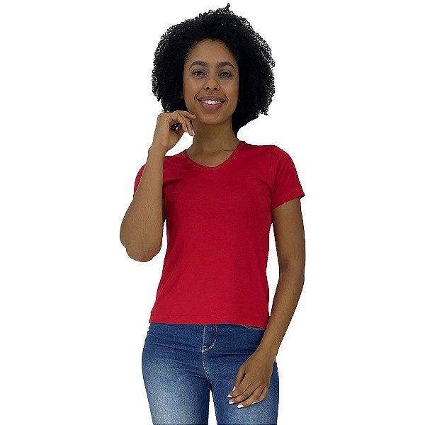 Camiseta Babylook Gola V KM MXD Conceito Vermelho