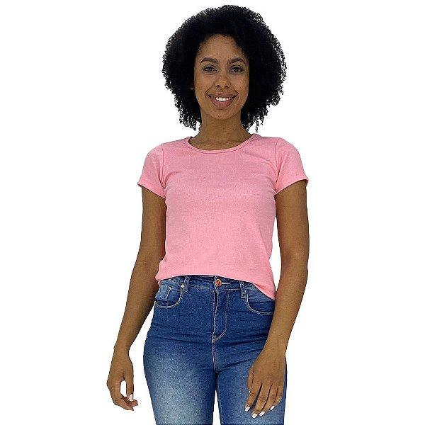 Camiseta Babylook Canelada KM MXD Conceito Rosa Bebê