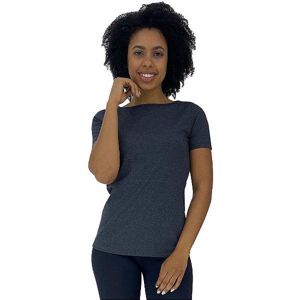 Camiseta Babylook gola Canoa KM MXD Conceito Mescla Escuro