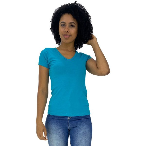 Camiseta Babylook Gola V KM MXD Conceito Azul Piscina