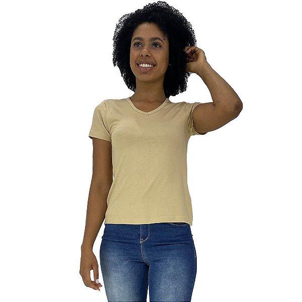 Camiseta Babylook Gola V KM MXD Conceito Creme