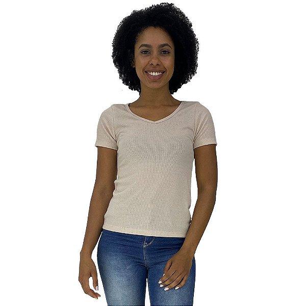 Camiseta Babylook Canelada Gola V KM MXD Conceito Creme