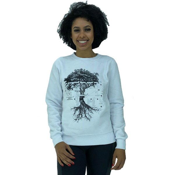 Blusa Moletom Feminina Marphim Branco Árvore da Vida
