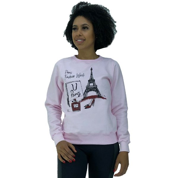 Blusa Moletom Feminina Marphim Rosa Paris Compras