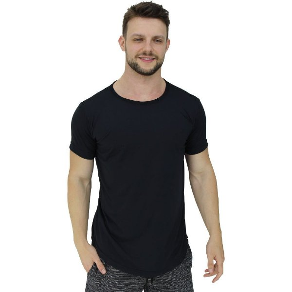 Camiseta Longline Viscolycra Masculina MXD Conceito Preto Básico