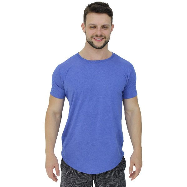 Camiseta Longline Malha PV Poliviscose Masculina MXD Conceito Azul Bebê