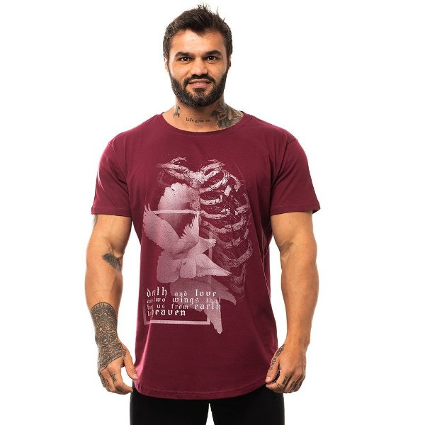 Camiseta Longline Masculina MXD Conceito Limitada Flor e Ossos