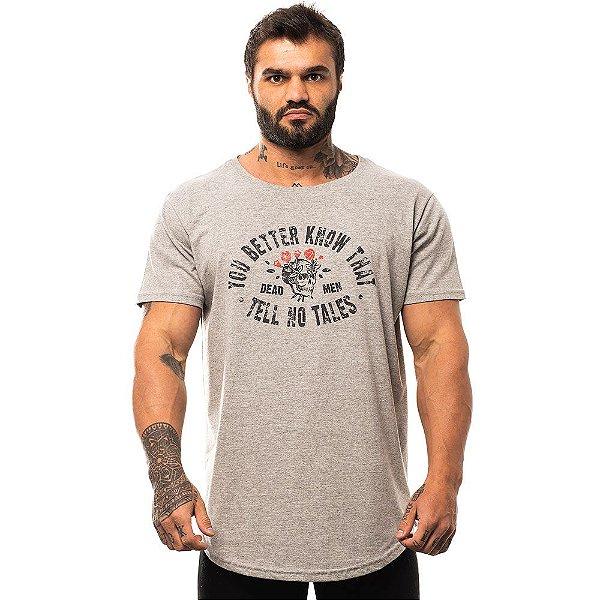 Camiseta Longline Masculina MXD Conceito Limitada Caveira Rosas