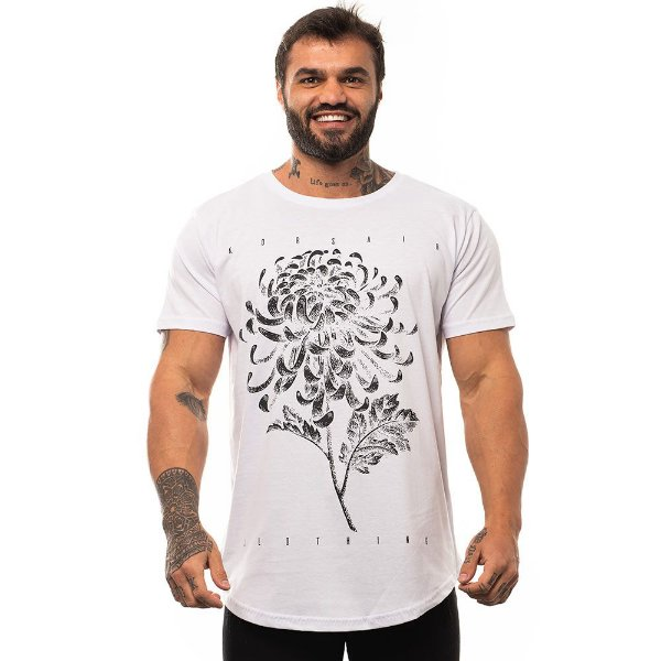 Camiseta Longline Masculina MXD Conceito Limitada Flor Oriental