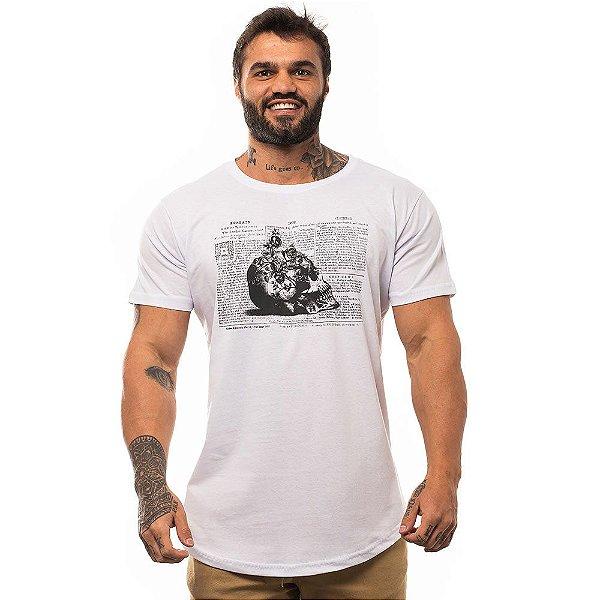 Camiseta Longline Masculina MXD Conceito Limitada Caveira, Rosas e Escritas