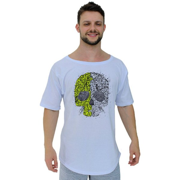 Camiseta Morcegão Masculina MXD Conceito Skull Two Faces