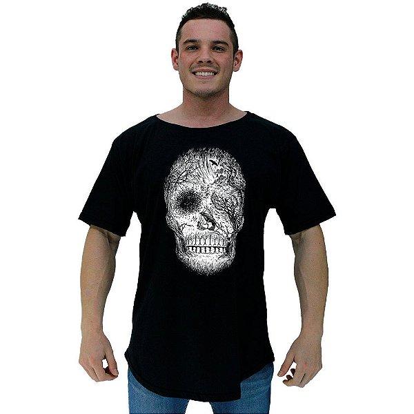 Camiseta Morcegão Masculina MXD Conceito Forest Skull White