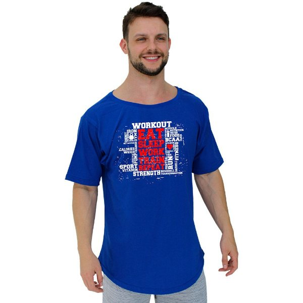 Camiseta Morcegão Masculina MXD Conceito Workout Eat Sleep