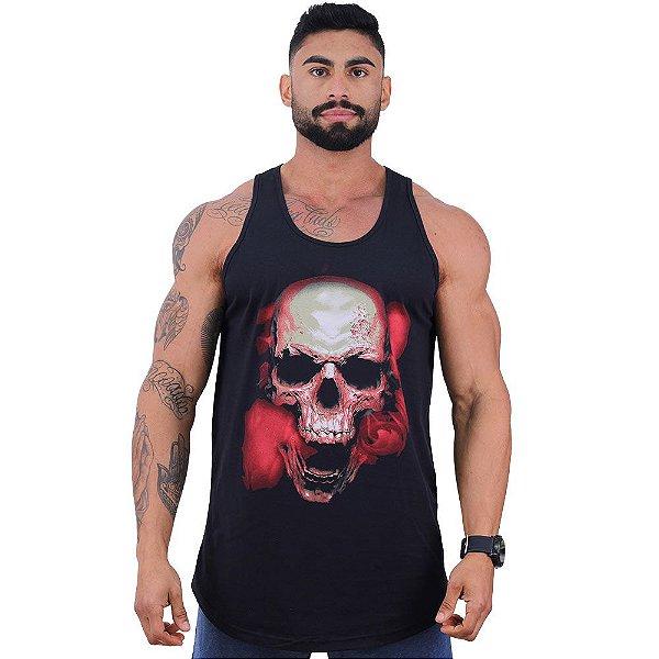 Regata Longline Masculina MXD Conceito Limitada Skull With Red Smoke