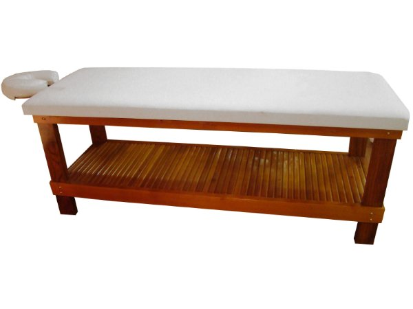 Maca para Massagem Multifuncional Multiforma, com suporte para o rosto e papeleira em madeira Cedro Rosa.