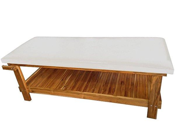 Maca para Massagem Multifuncional Multiforma, com suporte para o rosto e papeleira em madeira Teca.