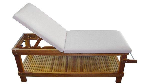 Maca para Massagem Beauty Multiforma, com suporte para o rosto e papeleira em madeira Cedro Rosa.