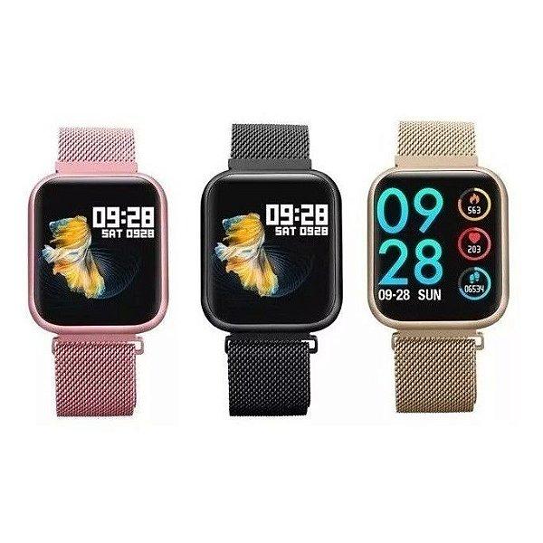 Smartwatch P80 Relógio Inteligente + Pulseira Extra De Aço