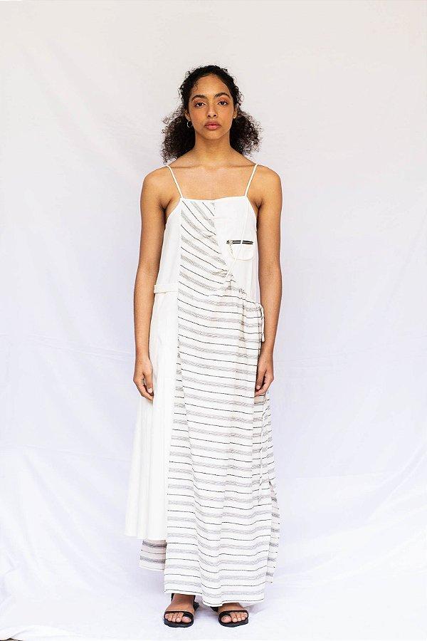 Vestido Lantuna - Bege / Listrado Preto