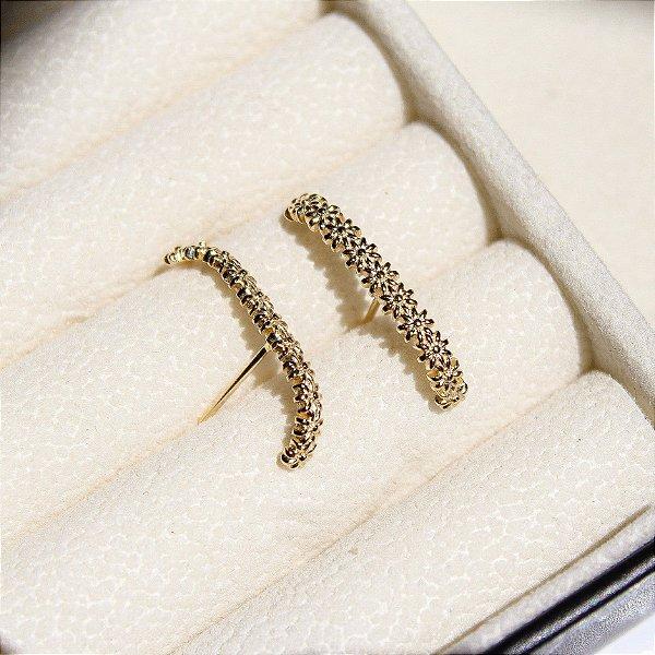 Ear Hook Flor Banho Ouro
