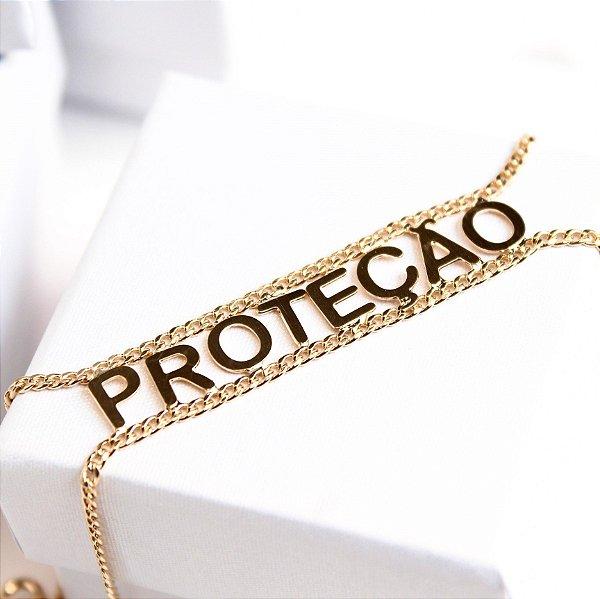 Pulseira Placa Proteção Banho Ouro