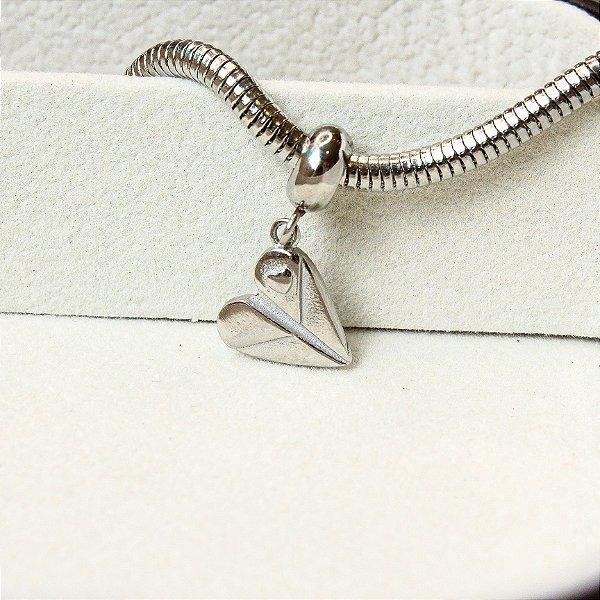 Berloque Coração Origami Aço