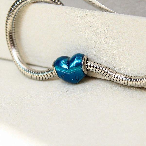 Berloque Separador Coração Azul Liso Aço