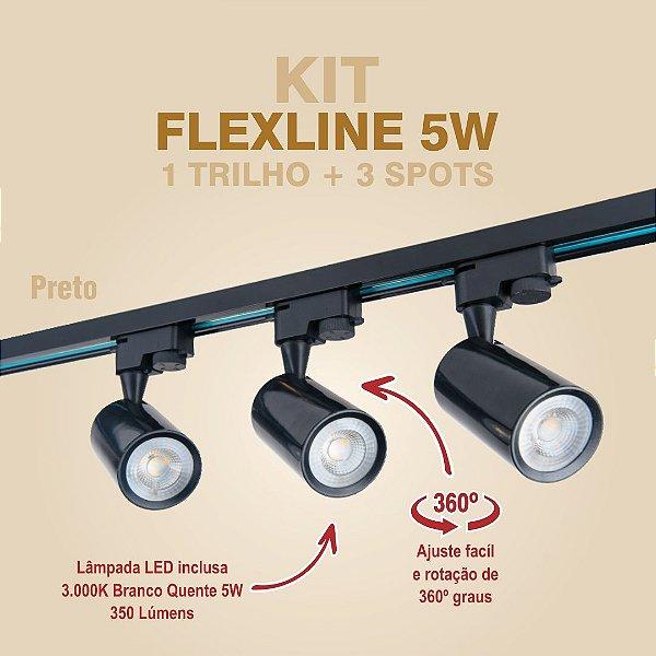 KIT FLEXLINE - 1 TRILHO + 3 SPOTS - 5W - PRETO