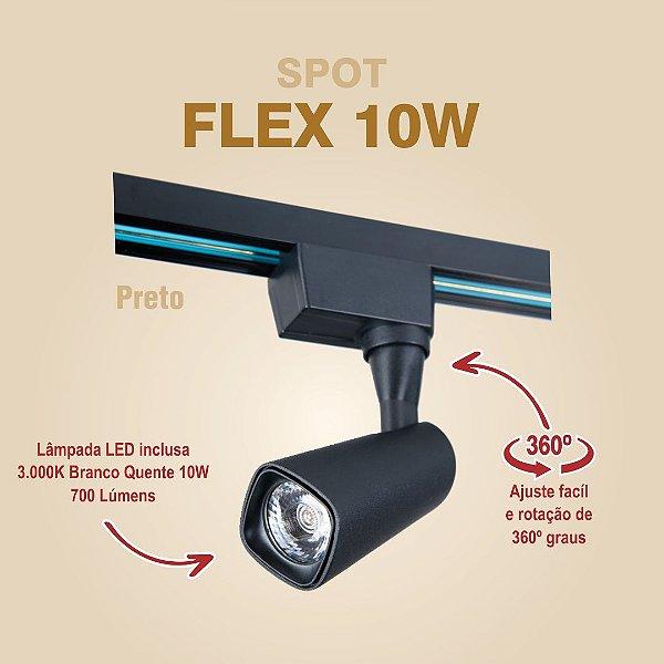 SPOT PARA TRILHO - FLEX 10W - PRETO