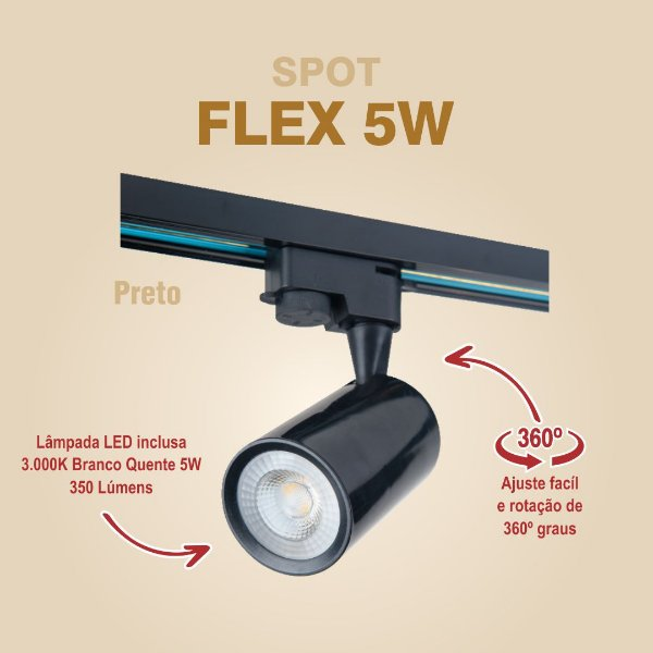 SPOT PARA TRILHO - FLEX 5W - PRETO