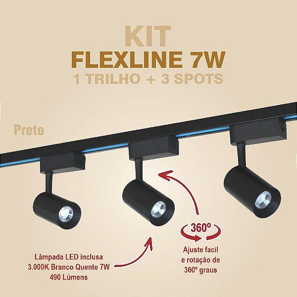 KIT FLEXLINE - 1 TRILHO + 3 SPOTS - 7W - PRETO